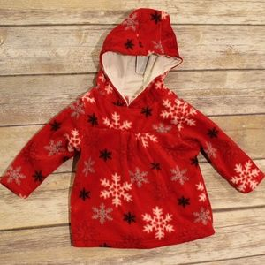 NWT Koala Kids Fleece Pullover red snowflakes 18M